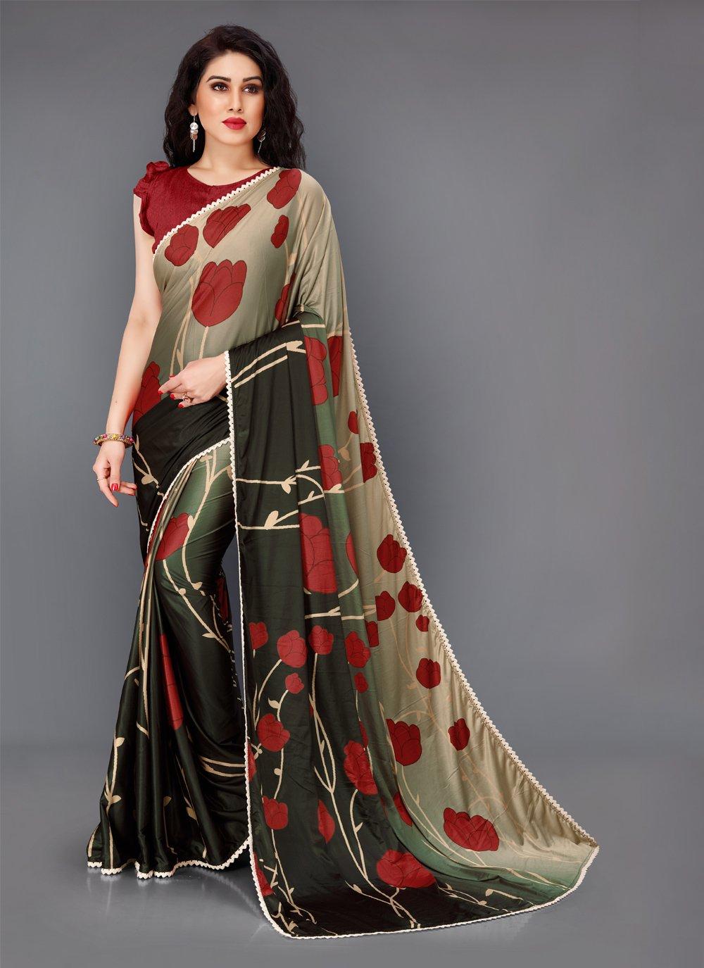 Lycra Multi Colour Floral Print Contemporary Saree