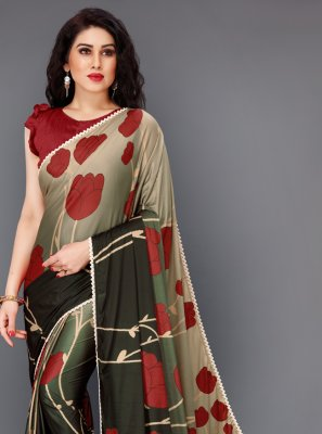 Lycra Multi Colour Floral Print Contemporary Saree