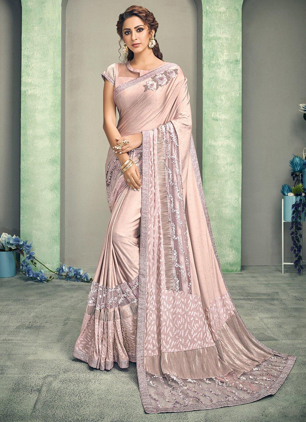 Lycra Pink Handwork Designer Saree