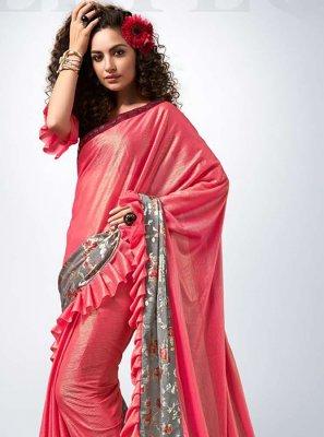 Lycra Pink Lace Designer Saree