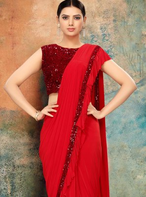 Lycra Sequins Bollywood Saree in Red