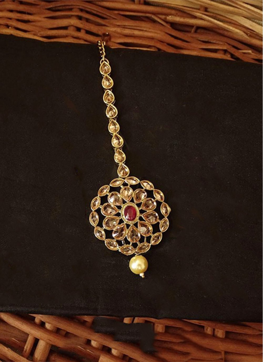 Maang Tika Stone Work in Gold