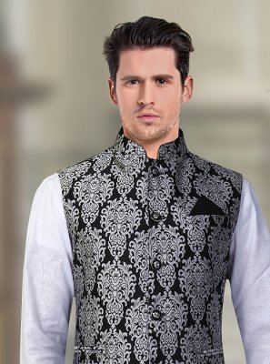 Machine Embroidery  Brocade Nehru Jackets in Black