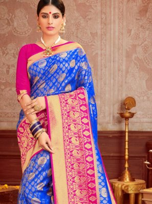 Magenta and Navy Blue Ceremonial Classic Saree