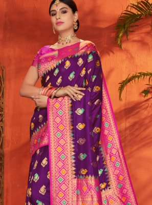 Magenta and Purple Festival Classic Saree
