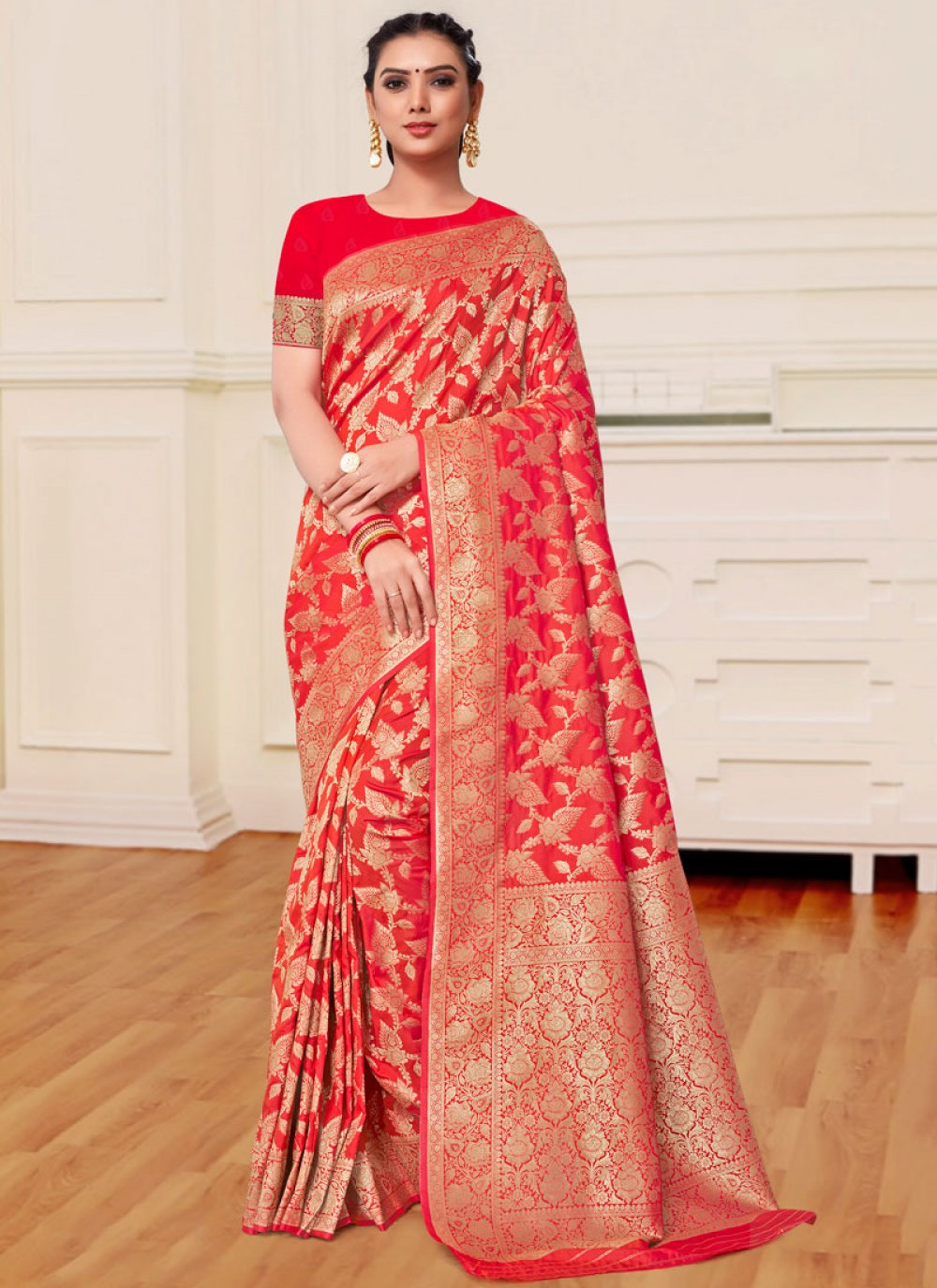 Magenta and Red Reception Trendy Saree