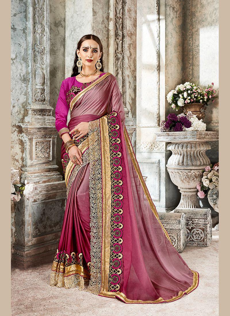 Magenta Art Silk Designer Saree