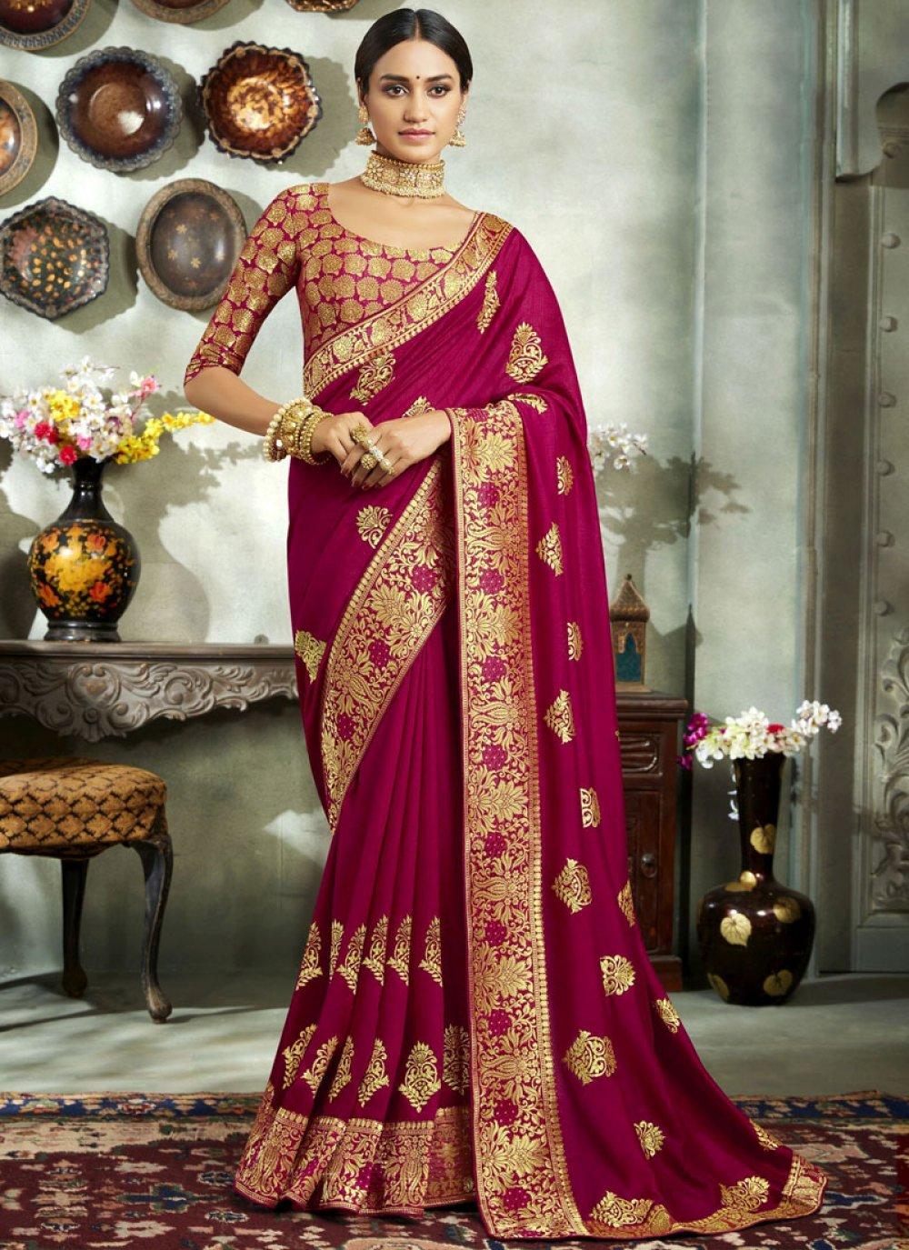 Magenta Art Silk Embroidered Classic Saree