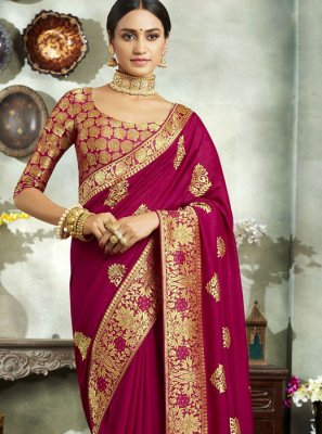 Magenta Art Silk Embroidered Classic Saree