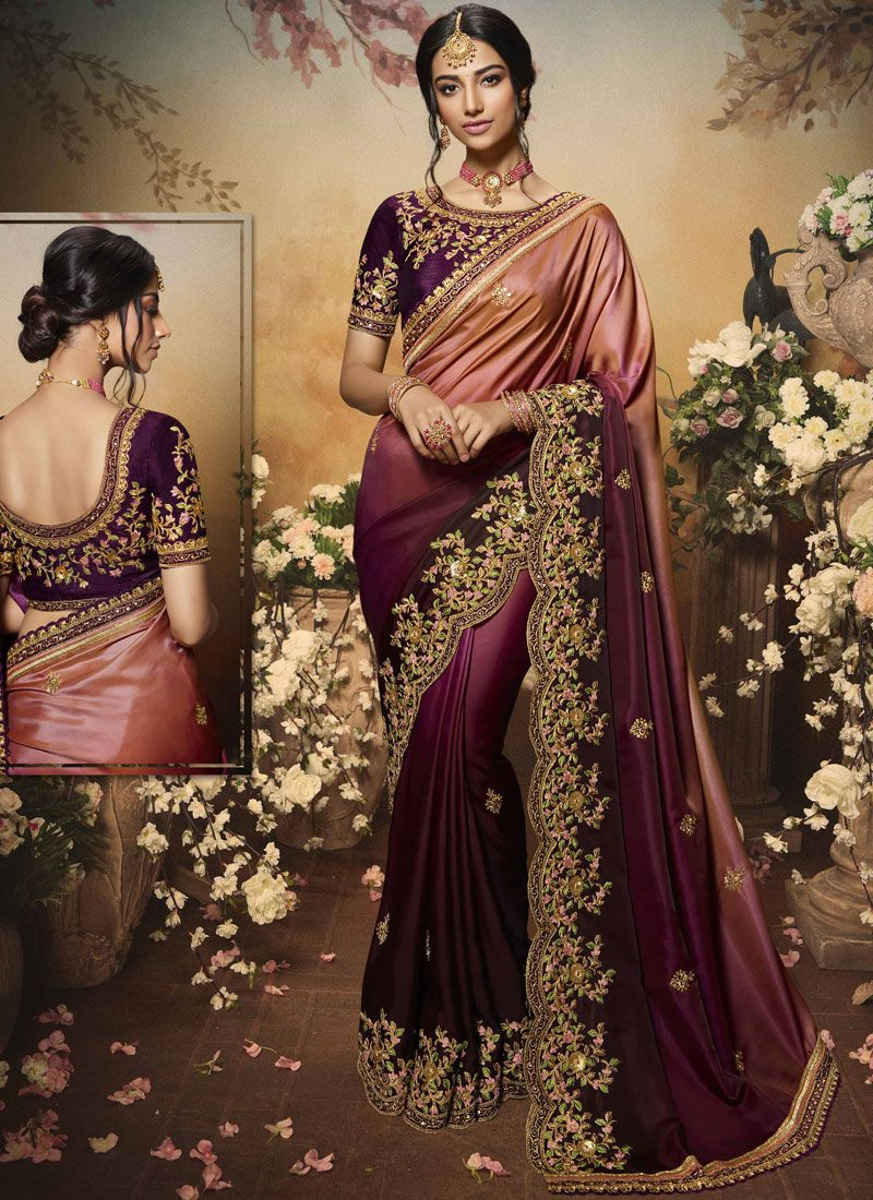 Magenta Art Silk Party Designer Saree