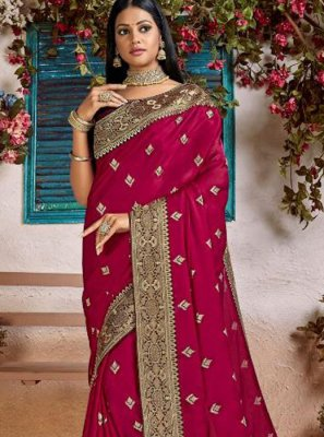 Magenta Art Silk Traditional Designer Saree
