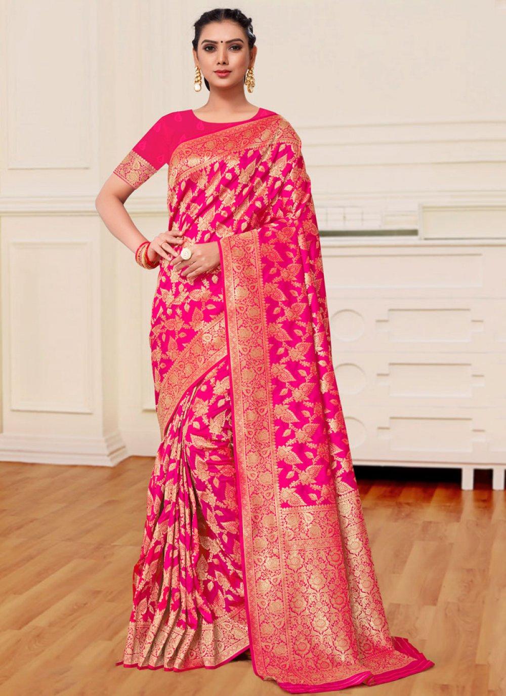 Magenta Banarasi Silk Classic Designer Saree
