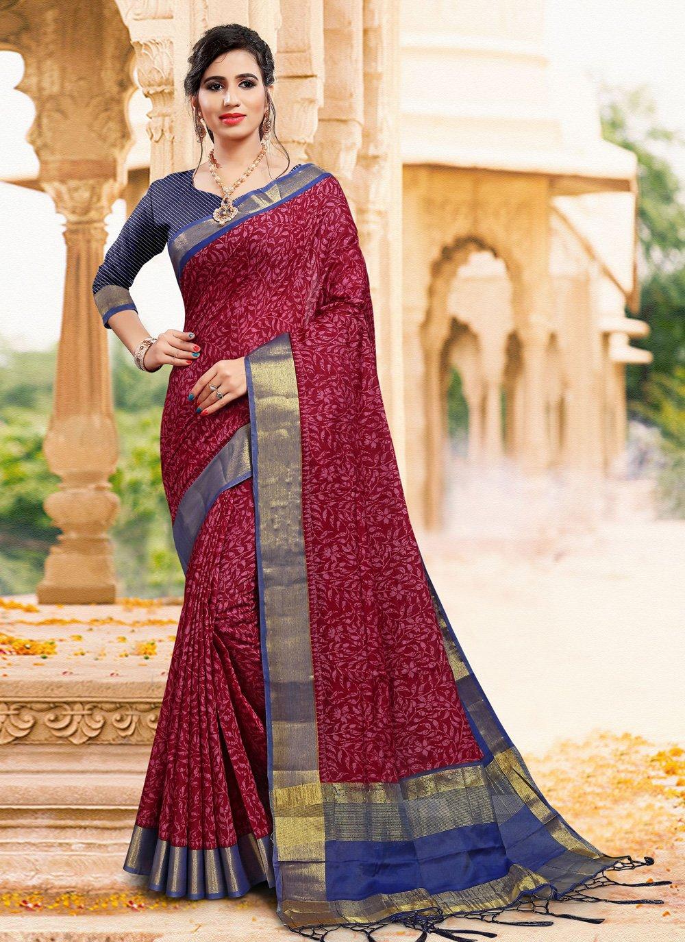 Magenta Contemporary Saree
