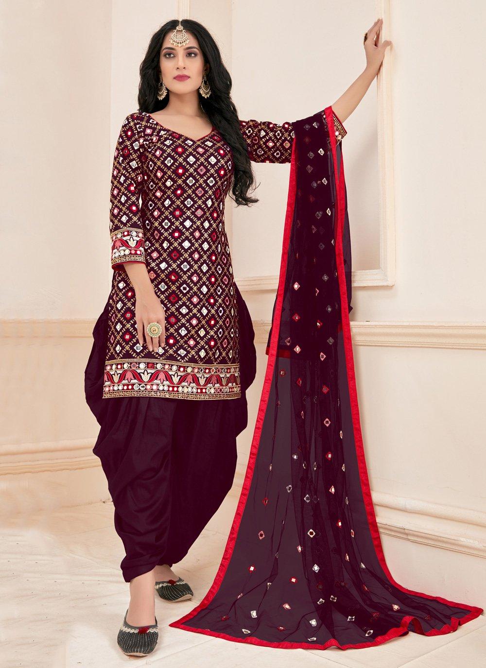 Magenta Cotton Mirror Designer Patiala Suit