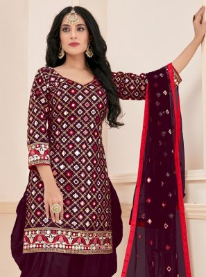 Magenta Cotton Mirror Designer Patiala Suit