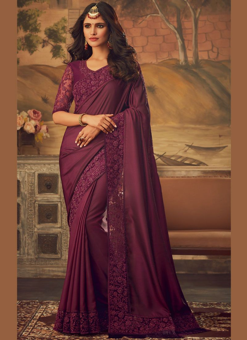Magenta Embroidered Designer Saree