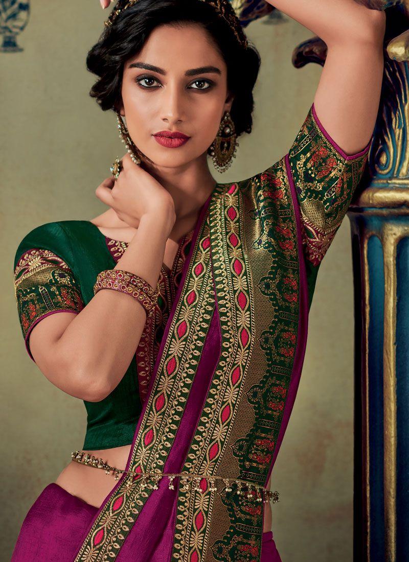Magenta Embroidered Designer Saree