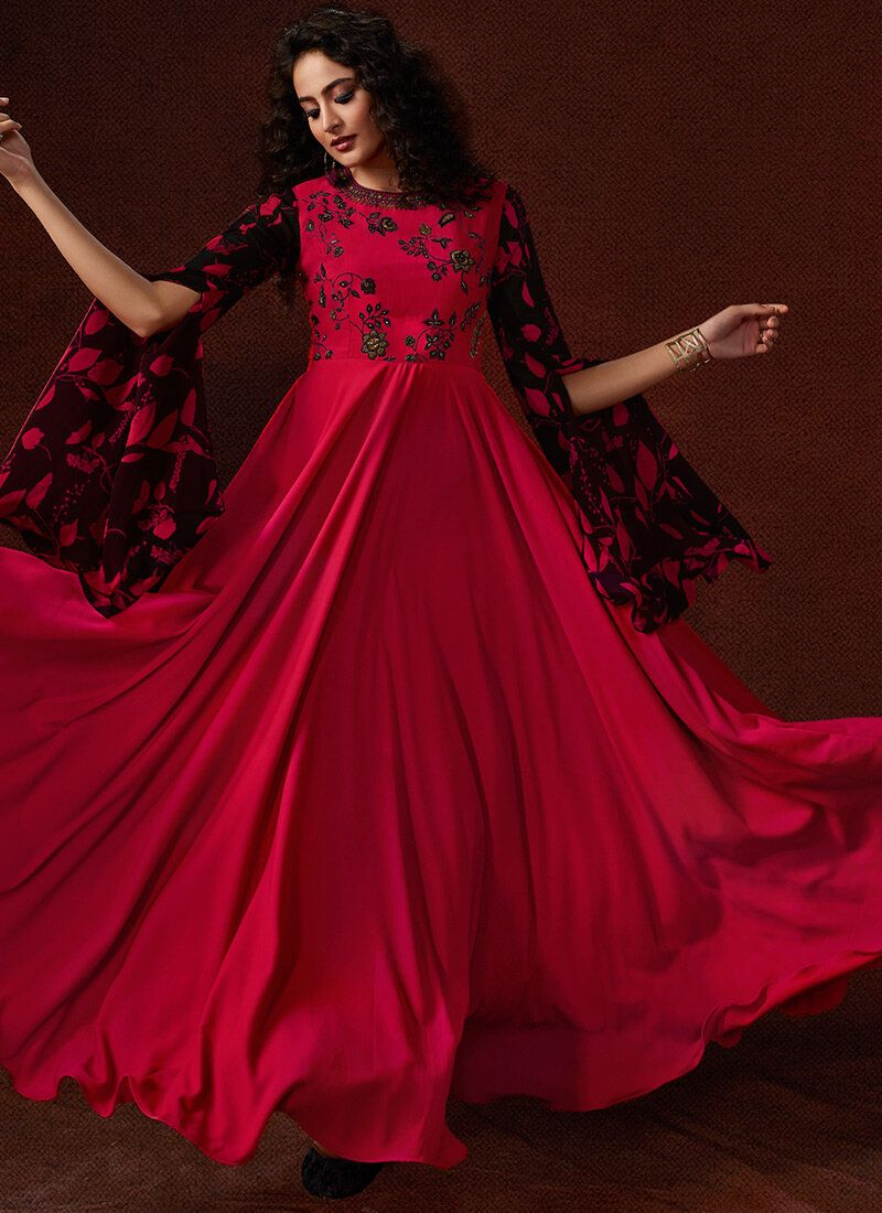 Magenta Embroidered Faux Georgette Trendy Gown