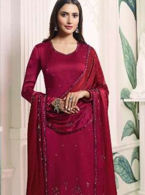 Magenta Embroidered Georgette Satin Trendy Churidar Salwar Suit