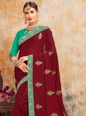 Magenta Embroidered Party Designer Saree