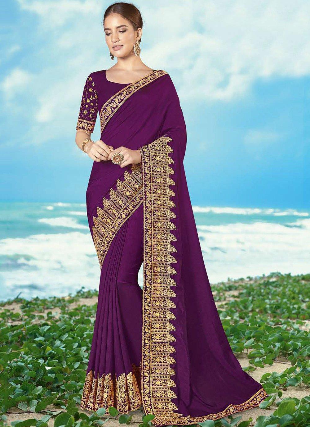 Magenta Embroidered Silk Classic Saree