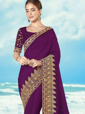 Magenta Embroidered Silk Classic Saree