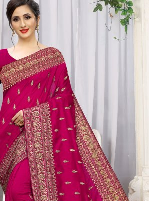 Magenta Embroidered Silk Designer Traditional Saree
