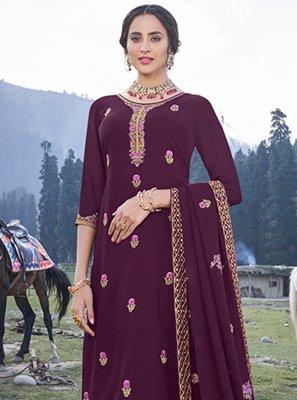 Magenta Embroidered Trendy Salwar Suit