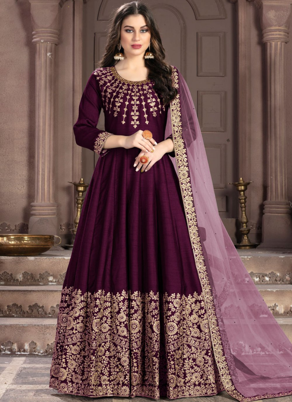 Magenta Fancy Fabric Embroidered Designer Anarkali Salwar Kameez