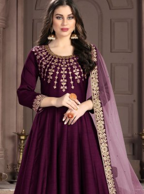 Magenta Fancy Fabric Embroidered Designer Anarkali Salwar Kameez