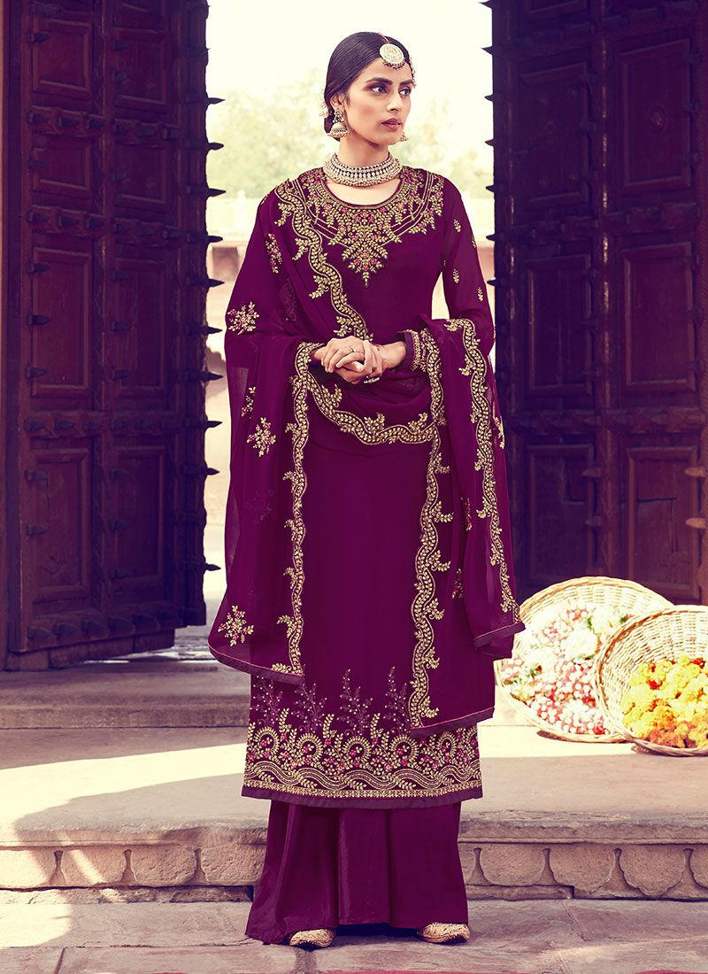 Magenta Georgette Resham Designer Palazzo Suit