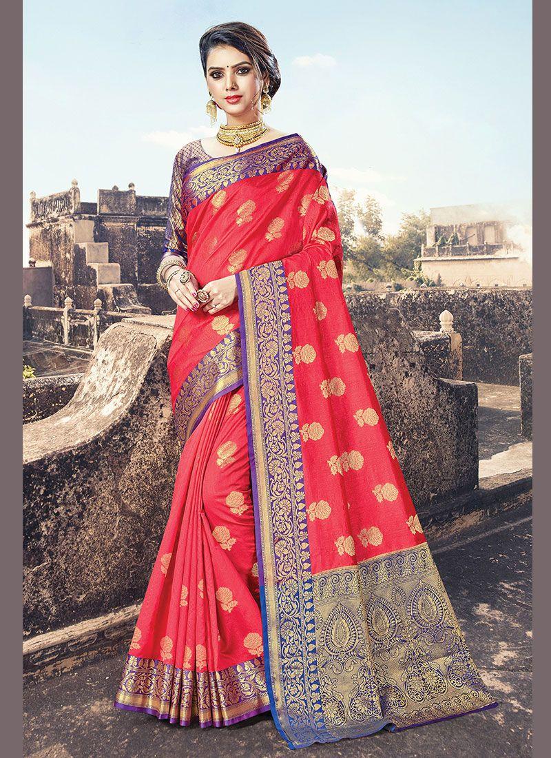 Magenta Handloom Cotton Designer Traditional Saree