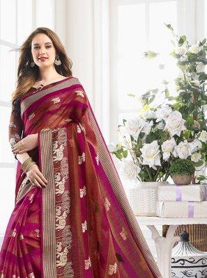 Magenta Handloom Cotton Mehndi Printed Saree