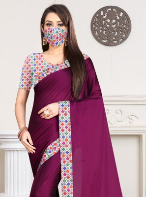 Magenta Lace Casual Casual Saree