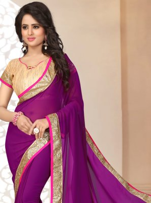 Magenta Lace Georgette Saree