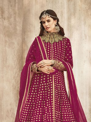 Magenta Velvet Floor Length Anarkali Suit