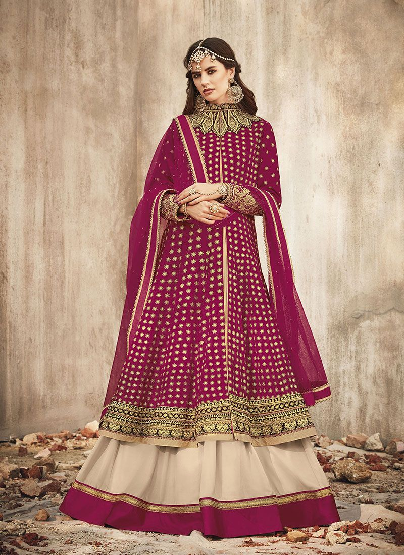 Magenta Velvet Floor Length Anarkali Suit