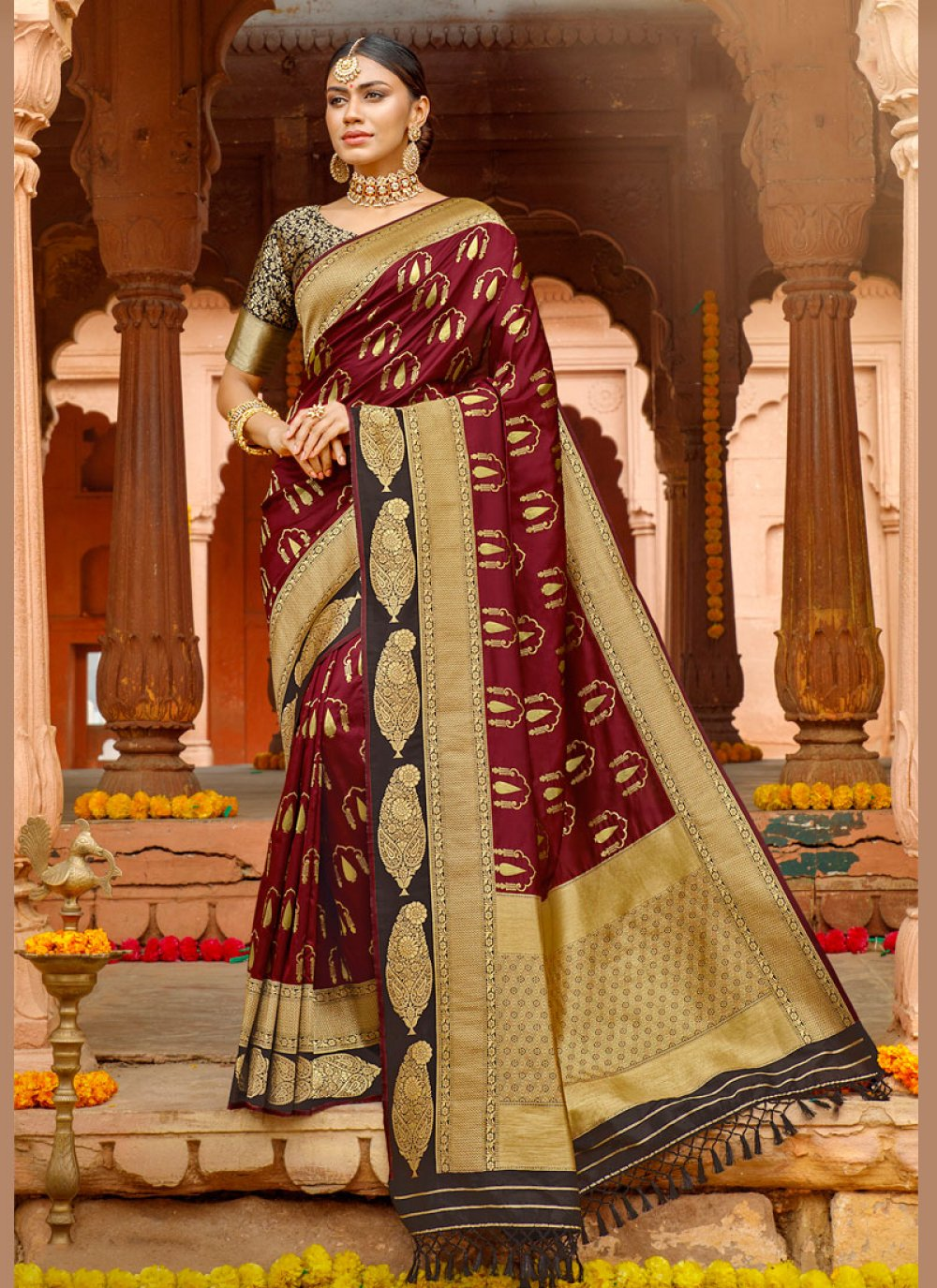 Magenta Weaving Party Silk Saree