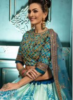 Malbari Silk  Embroidered Blue and White Trendy Lehenga Choli