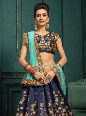 Malbari Silk  Embroidered Designer Lehenga Choli in Navy Blue