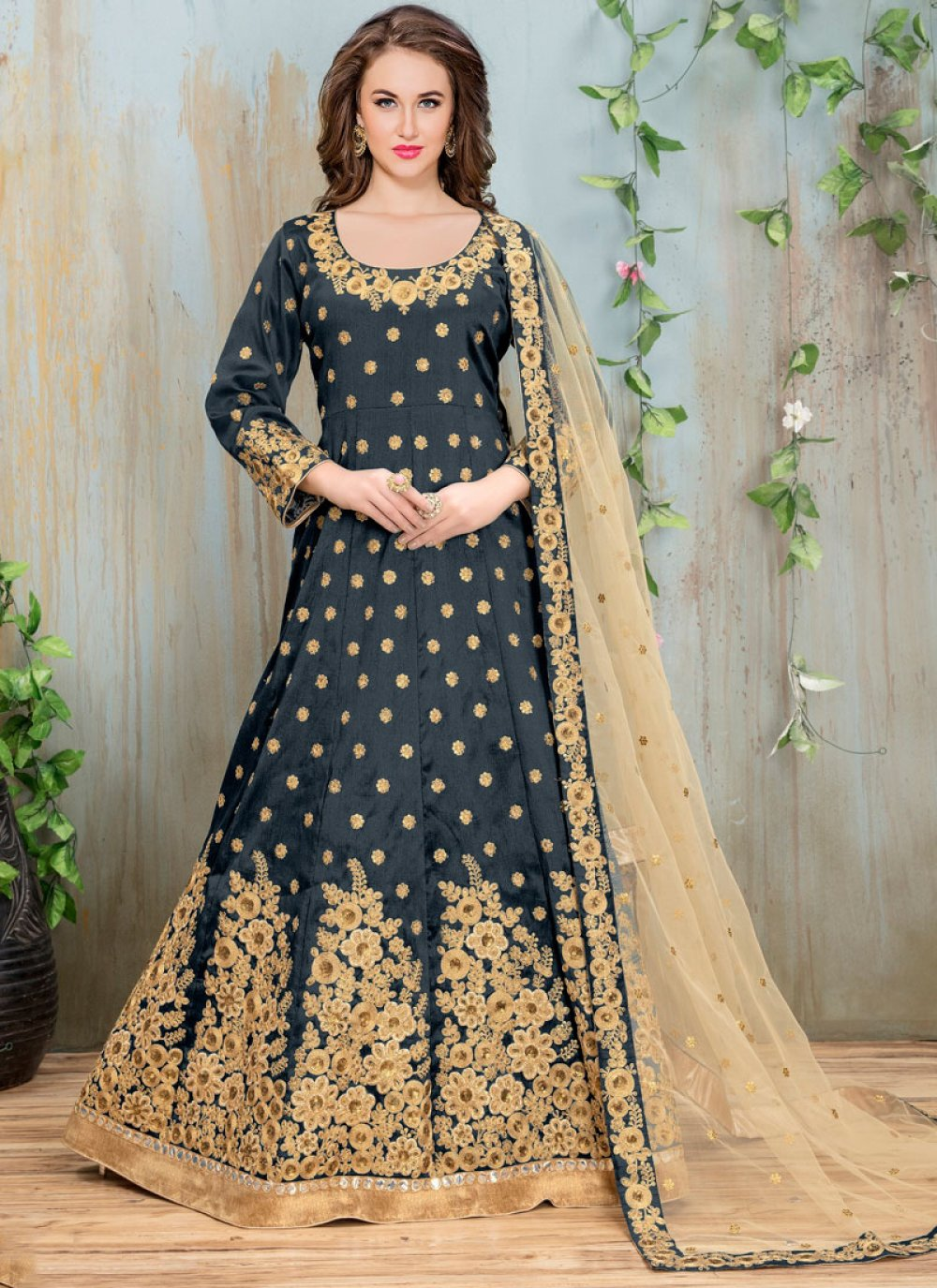 Malbari Silk  Embroidered Grey Anarkali Suit