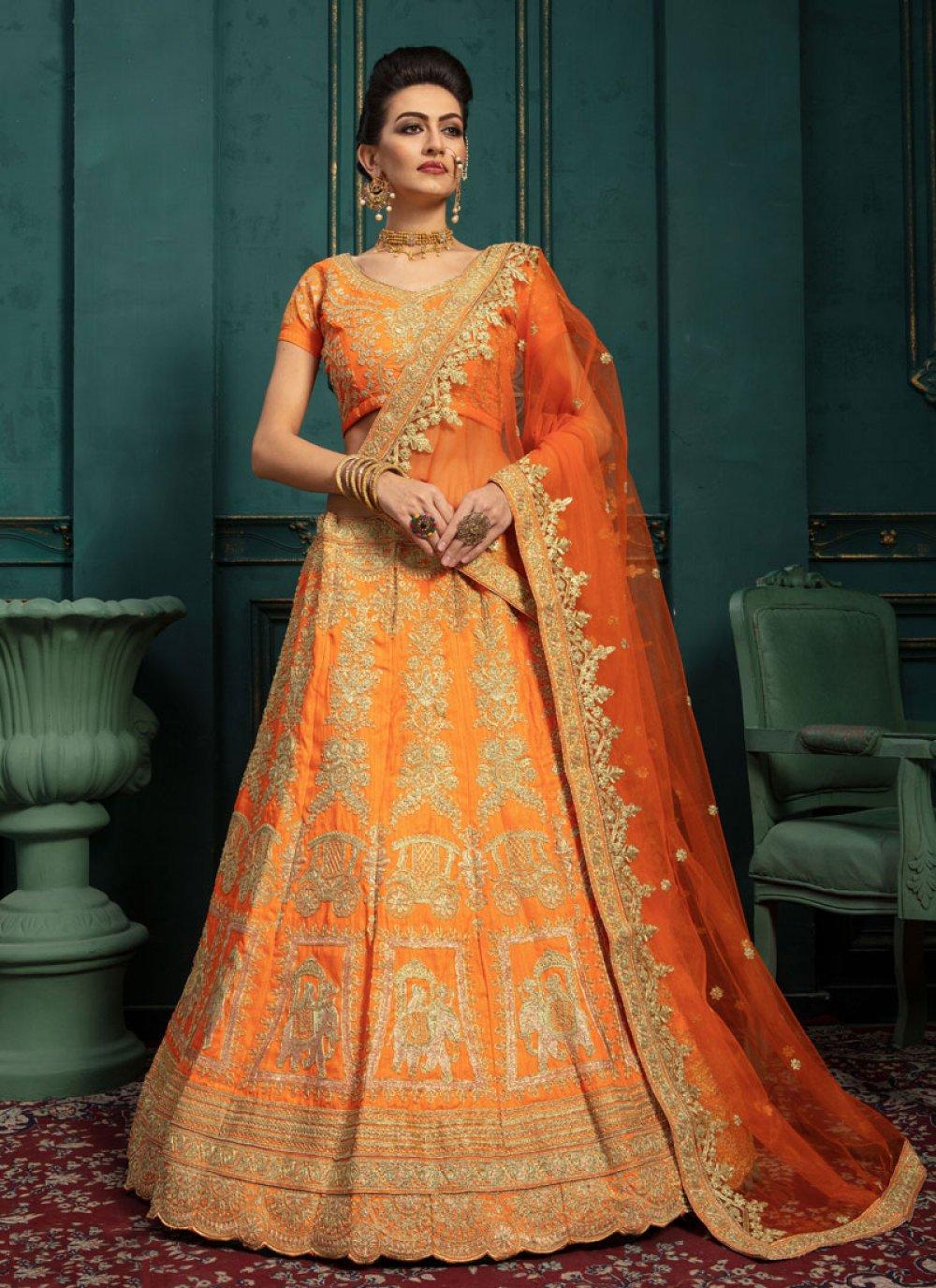 Malbari Silk  Embroidered Orange A Line Lehenga Choli