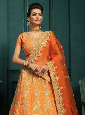 Malbari Silk  Embroidered Orange A Line Lehenga Choli