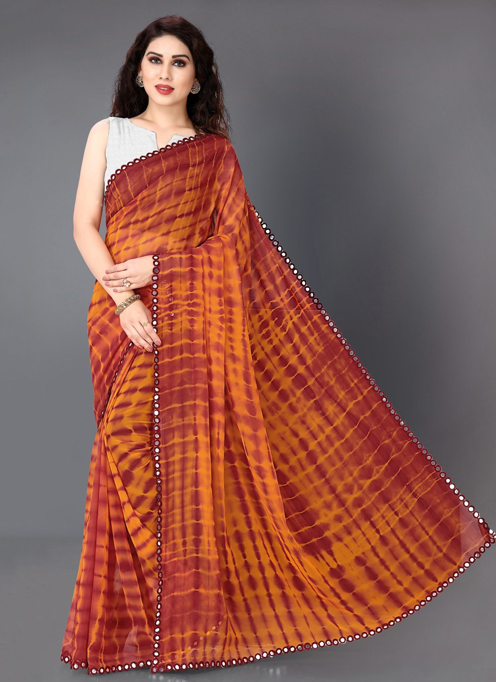 Maroon and Orange Casual Faux Georgette Casual Saree