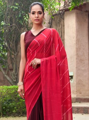 Maroon and Red Color Printed Saree