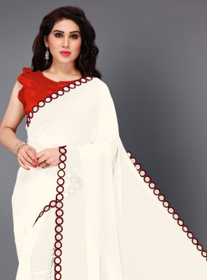 Maroon and White Faux Georgette Traditional Saree
