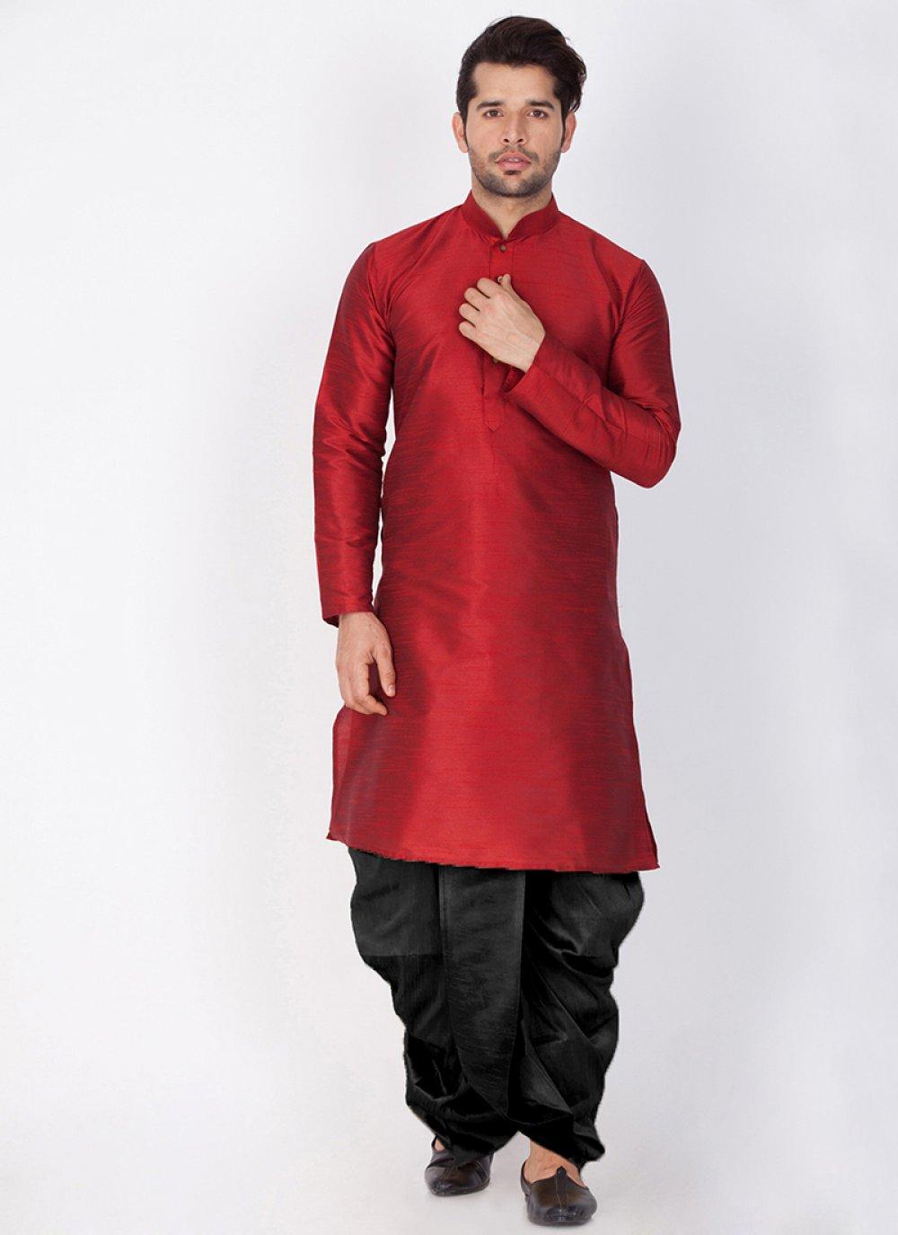 Maroon Art Banarasi Silk Sangeet Dhoti Kurta