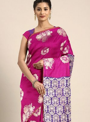 Maroon Art Silk Printed Printed Saree