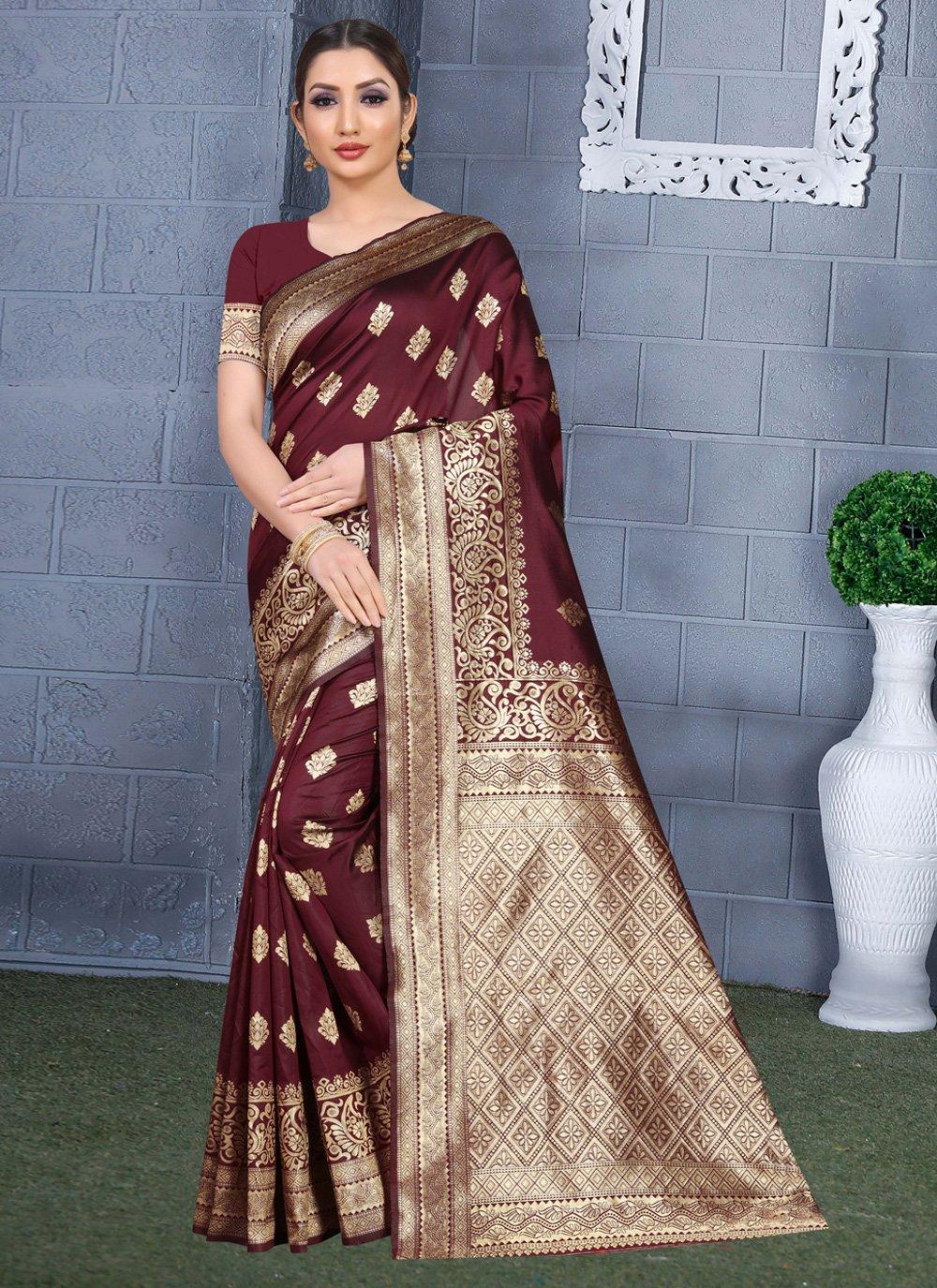 Maroon Art Silk Traditional Saree