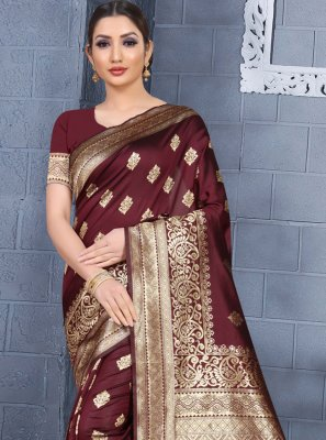 Maroon Art Silk Traditional Saree